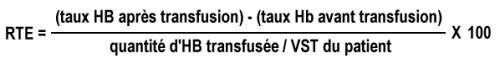 formule de l'évaluation du rendement transfusionnel pour les CGR