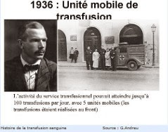 Photo des unités mobiles de transfusion en 1936