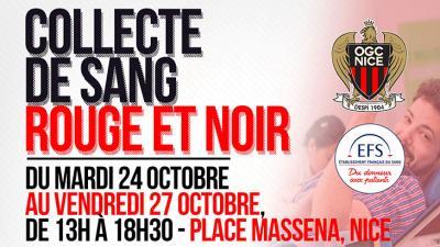 Affiche de la collecte de sang à Nice place Massena