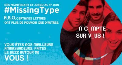 opération #MissingType pour promouvoir le don de sang