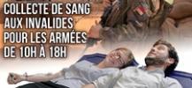 Affiche pour le don de sang des soldats aux invalides le 14 juillet