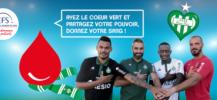 Affiche pour le don de sang avec l'AS Saint Etienne
