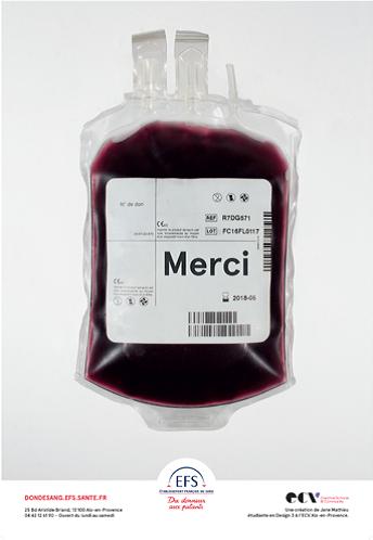 Affiche de la campagne du don de sang réalisée par l'ECV