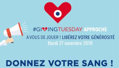 Affiche pour le don de sang durant le Giving Tuesday