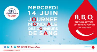 Affiche de la journée mondiale de donneurs de sang en France