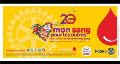Logo de Mon Sang pour les Autres pour les 20 ans du don de sang