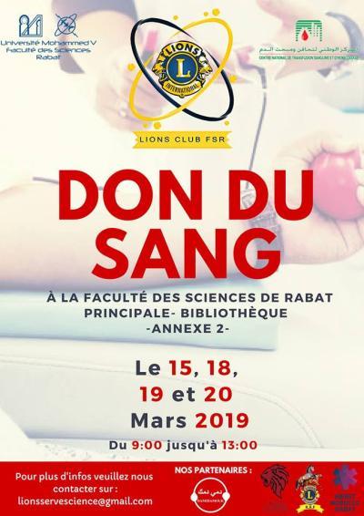 Affiche de la collecte de sang à Rabat par le Lion's club