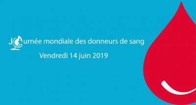 Logo de la journée mondiale des donneurs de sang 2019