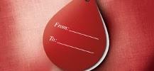 Etiquette pour offrir un don du sang en forme de goutte de sang