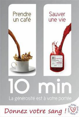 affiche avec le slogan : 10 minutes, la générosité est à votre portée