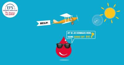 Affiche pour le don de sang durant l'été