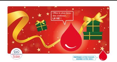 affiche de promotion du don de sang durant les fêtes de fin d'année
