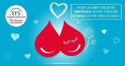 Faire un don de sang pour la Saint Valentin