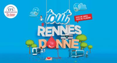 Affiche de la collecte : tout Rennes donne son sang